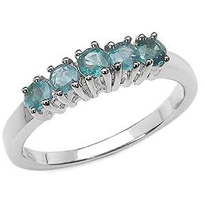 5 Diamant Bleu en Pierre Bague de Fiançailles en Platine (1/2 cttw) - La Taille 52