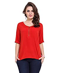 Ewows Red color front zipper Women Top Wear