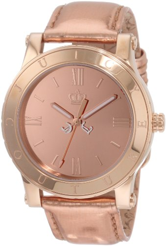 Juicy Couture Women's 1900837 HRH Rose Gold Mirror-Metallic Leather Strap Watch