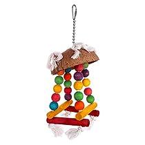 Aigou Wooden Bird Swings Toys 13'' by 4.7'' Bird Hanging Toys for Parakeet Budgie Cockatiel Meduim