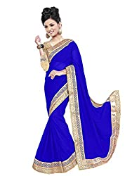 Sonani Women's Georgette Disigner Paety Wear Sarees with Blouse Piece (Blue7412)