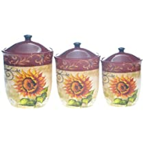 Certified International Tuscan Sunflower Canister Set 3-Piece