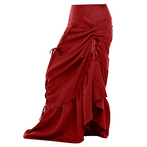 Blessume-Women-Punk-Corset-Skirt-Red