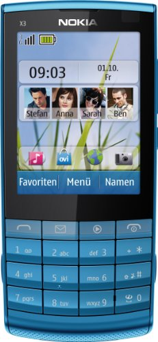 Nokia X3-02 Handy (6.1cm (2.4 Zoll) Touch&Type Display, Bluetooth, WLAN, microSD, 5 MP Kamera) petrol blue