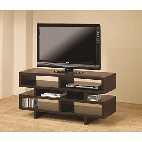 TV Stands Contemporary TV Console with Open Storage & Cappuccino Finish