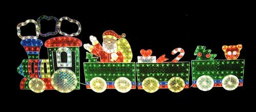 85 holographic lighted 4 piece motion train set christmas yard art
