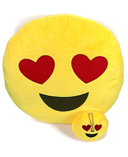 Emoji Cuscino Free portachiavi catena e morbido denaro Portafoglio Portamonete Smiley Fake Poop Throw cuscino emoticon Cute a forma di peluche Love Giallo Rotondo Marrone Set Regalo Grande giocattolo divertente Merchandise-Accessori tutto per bambini prime (Poop) Heart 2 Set