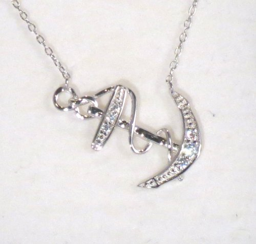 Sideways Anchor Necklace -.925 Sterling Silver And Cz