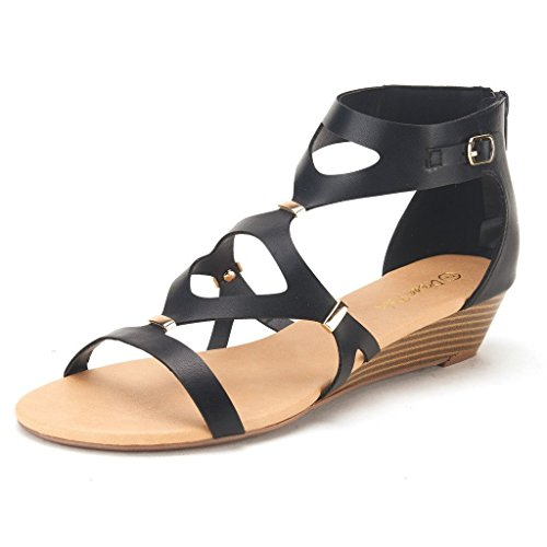 DREAM PAIRS VEENUS Women's Summer Cutout Low Heel Ankle/Zipper Side Buckle Gladiator Inspired Flat Sandals BLACK SIZE 10