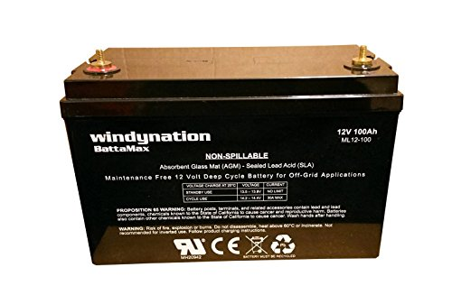 WindyNation 12V 100 Amp-Hour (240 Minute Reserve Capacity) AGM SLA Deep Cycle VRLA Battery RV, Solar, Wind, Marine, Off - Grid (Rv Deep Cycle Battery compare prices)