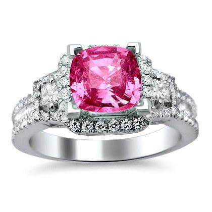 1.90Ct Pink Cushion Cut Sapphire Diamond Engagement Ring 18K White Gold