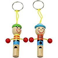 2 Pcs Wooden Instrument Game Kid Baby Favor Pirate Whistle Keychain Toys Gift