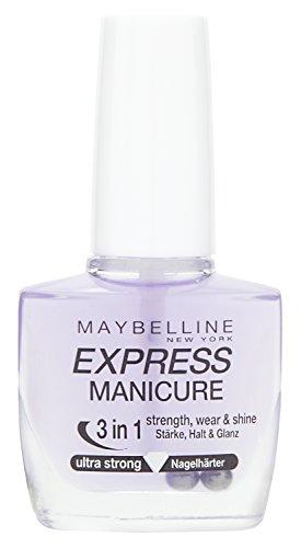 New York Make-Up Nailpolish Express Manicure Nagellack Ultra Strong 3 in 1 / Nagelhärter für gestärkte, glanzvolle und feste Nägel, 1 x 10 ml