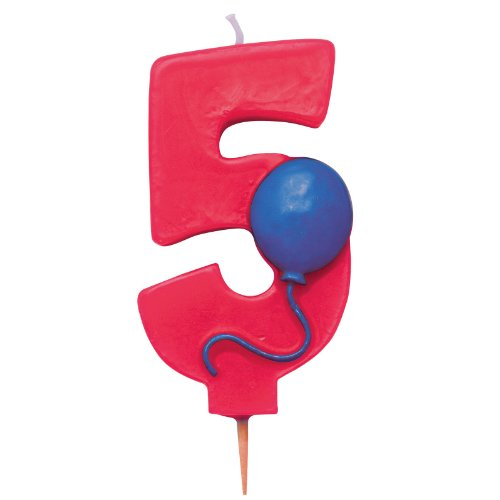 "Creative Converting Mens Number ""5"" Pick Candle with Balloon Black Medium - 1"