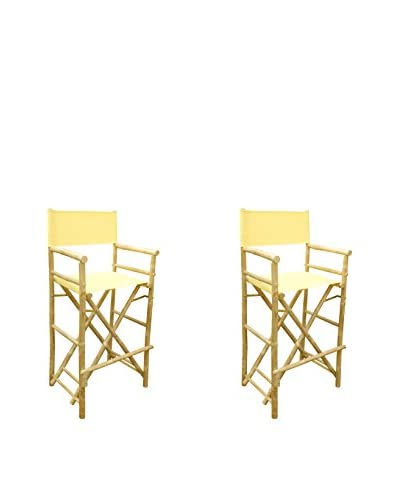ZEW, Inc. Set of 2 Bamboo High Director Chairs, Nude