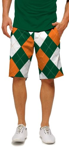 Loudmouth Golf Mens Shorts: Orange & Green Argyle - Size 36 by Loudmouth Golf