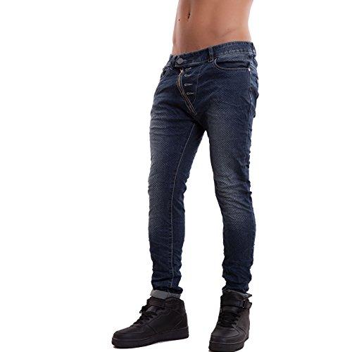 Toocool - Jeans uomo pantaloni slim cavallo basso skinny casual zip sbieco nuovi JK273[jeans,32/tg 46]