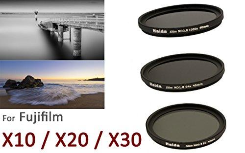 Haida Slim Neutral Graufilter Set für Fuji X10 / X20 / X30 - Spezialgewinde 40mm - Bestehend aus ND8x, ND64x, ND1000x Filtern und Objektivdeckel