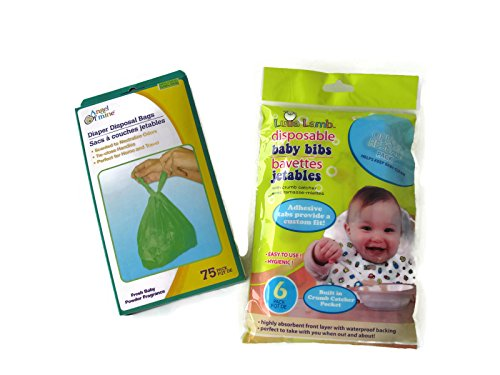 Diaper Disposal Bags and Disposable Bibs Diaper Bag Bundle of 2