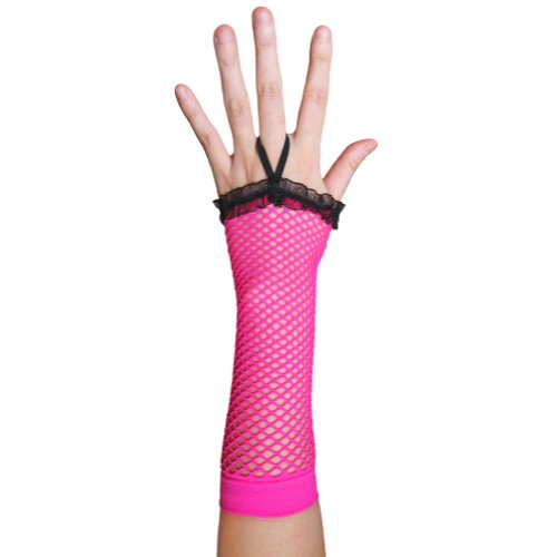 Neon Pink Fingerless Fishnet Gloves with Ruffle ~ Costume Party Accessory (STC12094)