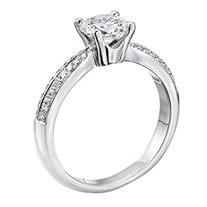 GIA Certified 14k white-gold Round Cut Diamond Engagement Ring (0.96 cttw, G Color, VS2 Clarity)