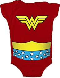Wonder Woman Uniform Costume Red Snapsuit Infant Onesie Baby Romper