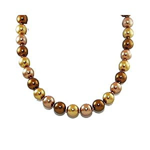 Click to buy Formal Bronze Color Pearl Necklace – Brown Bridesmaid Jewelry from Amazon!