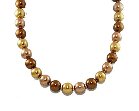 Formal Bronze, Taupe and Light Gold Color Pearl Necklace  Brown Bridesmaid Jewelry