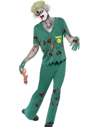 Smiffy's Men's Zombie Paramedic Costume with Top Trousers Mask Hair and Gloves