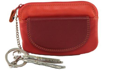 """Visconti borsellino di pelle da donna con anello portachiavi """"Rainbow"""" multicolore Purse (RB60): (toni del rosso (red multi))"""