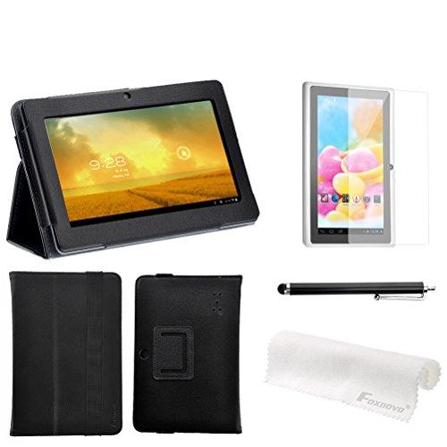 "Foxnovo 4-In-1 7"" Q88 Supereme Quality Pu Flip Case Screen Guard Stylus Pen Cleaning Cloth Set For Q88 /Q8 7 Inch Tablet Pc (7 "" Zeepad, Chromo, Alldaymall, Matricom, Tagital Tablet) (Black)"