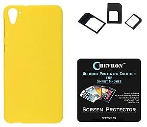 Chevron Rubberized Matte Finish Back Cover Case for HTC Desire 826 with HD Screen Guard & Multi Sim Adapter (Yellow)