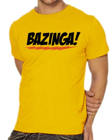 Touchlines Herren T-Shirt The Big Bang Theory - Bazinga Logo, gold, S, B1797-Gold-S