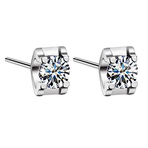 DEAL-OF-THE-DAY-T400-Jewelers-925-Sterling-Silver-Cube-Shape-Swarovski-Zirconia-Stud-Earrings-Clear