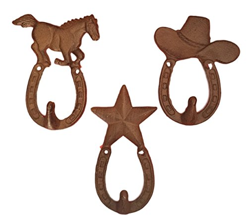 Cast Iron Cowboy Western Horse, Cowboy Hat and Star Wall Hooks Set of 3 (Cast Iron Cowboy Hook compare prices)