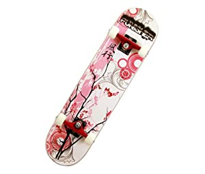 Punisher Cherry Blossom Complete Skateboard, Red, 31-Inch