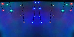 LEDwholesalers 16.4 Feet 150 LED Icicle Christmas Holiday Lights with Green Wire, RGB,2064RGB