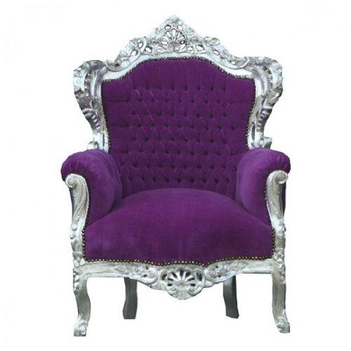 Casa Padrino Barock Sessel 'King' Lila/Silber