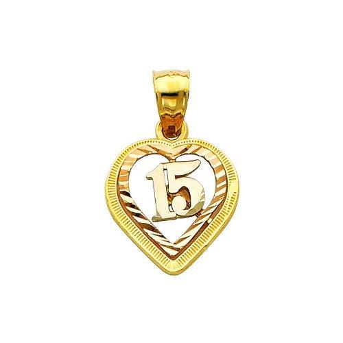 14K 3 Tri-color Gold 15 Años Heart Charm Pendant