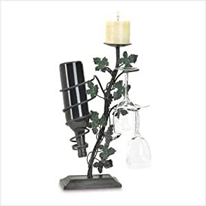 Grapevine Candle Holder Wine Glass And Bottle Storage