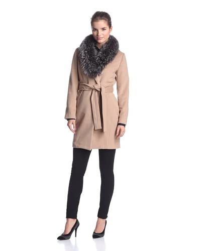 Ada Outerwear Women's Elise Belted Coat with Fur Collar