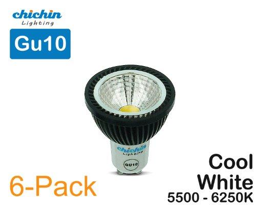 Chichinlighting®6-Pack Led Gu10 Cool White 6000K, Light Bulb 6W Halogen Gu10 Bulbs Replacement