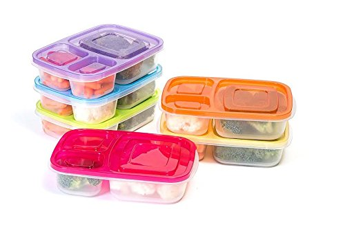 Value Pack Manage Meal 3 Compartment Lunch Boxes - Reusable Food Storage Containers - Reusable, Microwave & Dishwasher Safe - Set of 6 - Multi Colored -Great for Work, School, and Portion Controlling (Elephant Frying Pan compare prices)