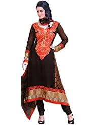 Exotic India Black And Red Choodidaar Kameez Suit With Floral Embroidery - Black
