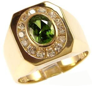 14K Yellow Gold, Fancy Ring For Men Guy Gent With Brilliant Lab Created Gems Dark Green Center 7Mm 1.75Ct