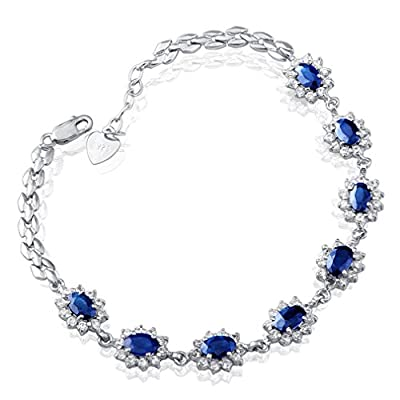 HeBe Jewelry Sterling Silver Sapphire Diamond Accent Bracelet