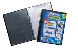 A4 Easel Fold Back Flip Presentation Twin Wire Black Display Book - 36 Pockets