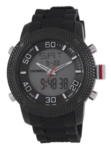 CEPHEUS - CP903-622 - Montre Homme - Quartz Analogique et Digitale - Alarme/Eclairage - Bracelet Silicone Noir