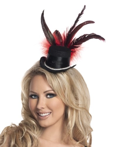 Mystery House Costumes Burlesque Mini Hat, Black, One Size