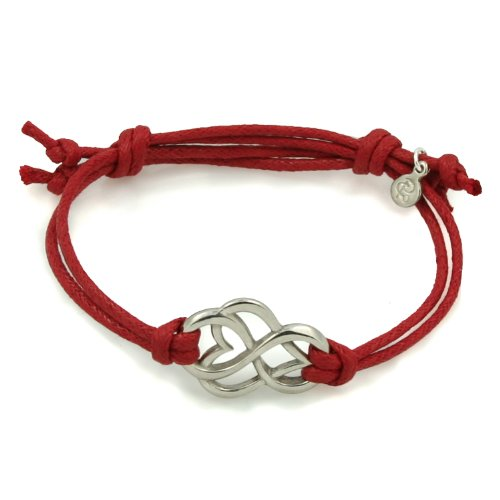 White Bronze Let Love Out Heart Corded Bracelet (Medium, Red)